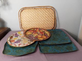 lot of 6 Trays Made of Various Materials   Bamboo Tray  Metal and Plastic Trays   Fruit and Paisley Detailing