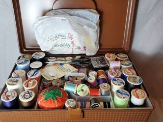Sewing lot  Traveling Case with Spools Fabric and Buttons