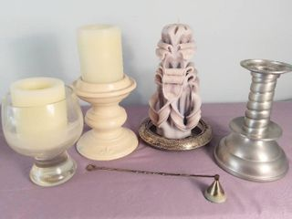 lot Of 8 Candle Items   4 Miscellaneous Candle Holders   2 White C Battery Operated Candles  Not Tested    1 White  Blue  Purple Carved Unity Candle   1 Candle Putter Outer