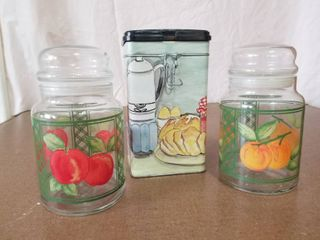 lot of Two Glass Jars and One Metal Tin