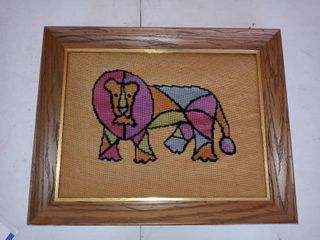 Cute Framed Multi Colored Needle Point lion