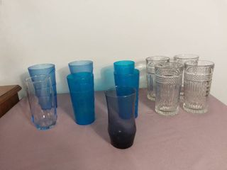lot of 11 Miscellaneous Drinking Glasses Made of Glass and Plastic