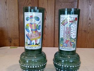 Pair Of Vintage Green Vases With French Characters