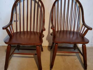 Pair of Mahogany Dinig Chairs with Spindle Back and Casters on Feet