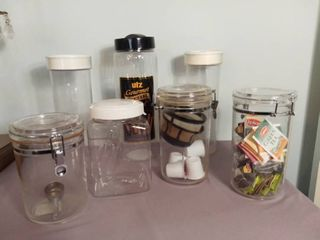 lot of 7 Plastic Containers with lockable lids