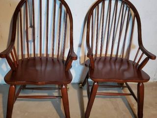 Pair of Mahogany Spindle Back Chairs with Vintage Style Casters