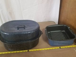 lot of Two Roasting Pans  T Fal and Unbranded