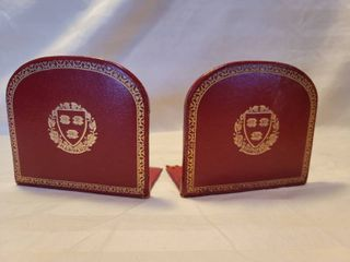 Red leather Harvard Scholar Bookends