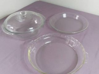 lot Of 3 Pyrex Backing Dishes   1 Deep Dish W  lid  2 Shallow Backing Dishes