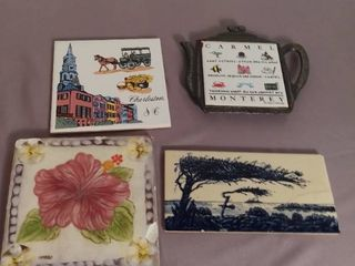 lot of 4 Ceramic Tile Art Pieces   One is Cracked and One has Chips