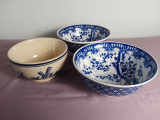 lot Of 3 Ceramic Bowls   1 Off White Ceramic Bowl With Blue Hand Painted landscape   2 White And Blue Ceramic Bowl With Cherry Blossom Design