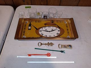 Vintage Bar Serving Tray With Vintage Accessories