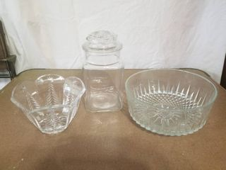 lot of One Crystal Christmas Tree Candy Dish  One Glass Jar with lid  One large Crystal Bowl