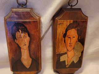 lot of 2 Wooden Hanging Plaques with Modigliani Prints