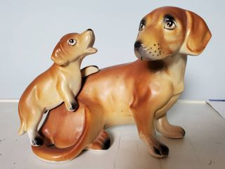 Napco Vintage Dauchsund Dog Wiener Dog And Puppy So Cute Porcelain 5x4 Inches
