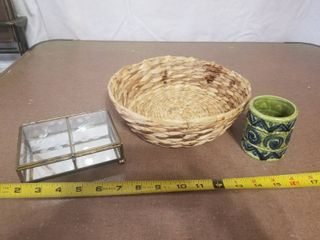 lot of Three Miscellaneous Items  One Basket  Small Relpo Pottery Cup  and Small Jewelry Box