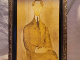 Modigliani Print in Antique Carved Wooden Frame