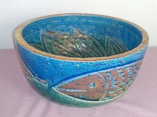 Ceramic Glazed Bowl Painted Blue And Green With Golden Accents   Decorated With Fish And Floral Design