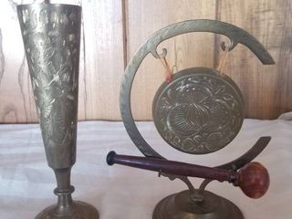 Unique Brass Gong With Wooden Striker Made in India and Brass Flute Made in India