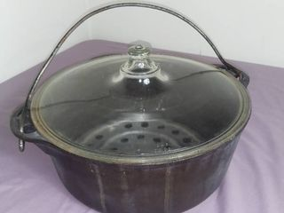 Griswold Cast Iron Number 8 Dutch Oven With Pyrex lid