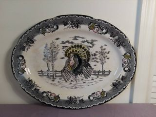 large Ceramic Glass Hand Underglaze Ironstone Serving Platter with Turkey Depicted on Front