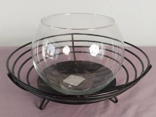 lot Of 2 Items   1 Metal Basket   1 Glass Candy Dish