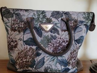 Vintage Verdi leather and Tapestry Carry On