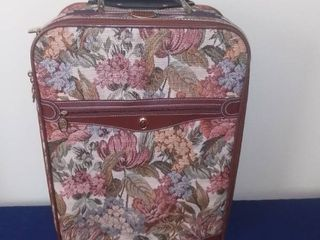 leather and Tapestry Carry on Rolling Bag