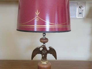 Wooden MCM Brass Eagle lamp