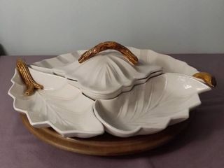 5 Piece 1957 Miramar of California Glass Ceramic Relish Appetizer Set with lazy Susan   White leaf Shaped Bowl Pieces with Brown Textured Wood Shaped Handles