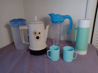 lot of 6 Retro and Modern Plastic Pitchers and Mugs   Regal Heated Coffee Pot No Chord Aladdians Thermos