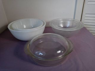 lot of 6 Glass Kitchenware Items   3 Clear Pyrex Bowls  1 Pyrex Casserole Dish with lid and 2 White Glass Bowls