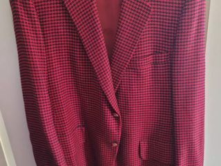 100  Cashmere Houndstooth Red and Black lEBOW by Woolf Brothers