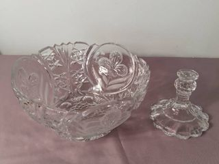 Crystal Etched Salad Punch Bowl with Stand   Stand is Broken off  Needs some TlC   Orchid Flower Design