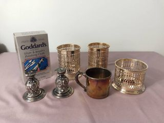 lot of 6 Silver Plated Pieces with Goddard s long Shine Silver   Jewelry Polishing Cloth