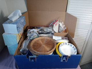 Mega lot of Miscellaneous Kitchen Paper Products   Tissues  Paper Plates Napkins  Plastic Cutlery