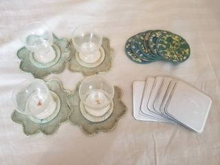 lot of Three Sets of Coasters  Set of Four Small Glasses