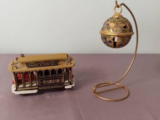 lot of 2 Miscellaneous Decor Items   Metal Gold Toned Bell on Hanger and San Francisco Municipal Cable Car Music Box   Music Box Working