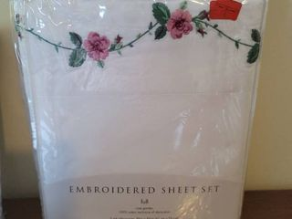 Embroidered Full Size Bed Sheets