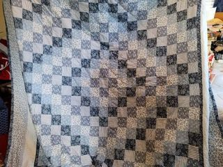 Blue and White Quilt 90 I x 100 in