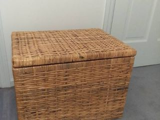 Square Wicker Basket with Attached lid and Handles Made in the Philippines   Contents Not Included