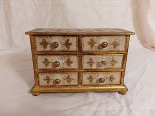 Antique Wooden 6 Drawer Jewelry Box with Gold Tone and Blue Accents