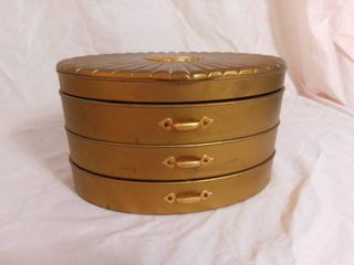 Antique Rialto Products New York Three Tier Swivel Oval lined Plastic and Metal Jewelry Box