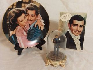Small lot of Gone with the Wind Memorabilia   limited Edition Plate that is cracked and repaired  limited Edition Rhett Butler Figurine and Greeting Card