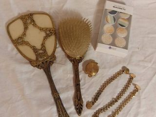 lot of Miscellaneous Gold Toned Items   Antique Hand Mirror and Hair Brush  Cuff links  Antique Turtle with lip Balm and Magnets