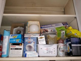 Shelf lot Of Various Bulbs And Miscellaneous
