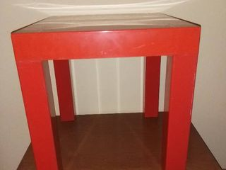 Red Plastic 1970s Square Side Table