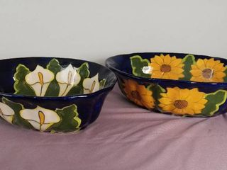 lot Of 2 Glazed Ceramic Hand Painted Fruit Bowls   Made In Mexico lead Free
