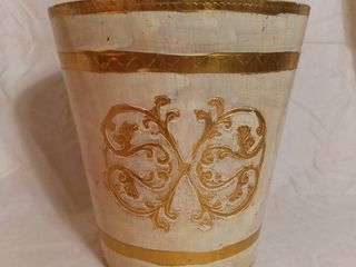 Waste Basket Made in Italy with White and Gold Tone Accents