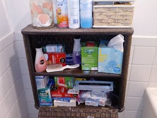 Vintage Wicker Style Bathroom Cabinet All Contents Included